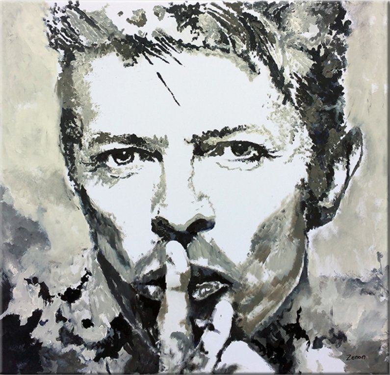 Schilderij David Bowie zwart-wit