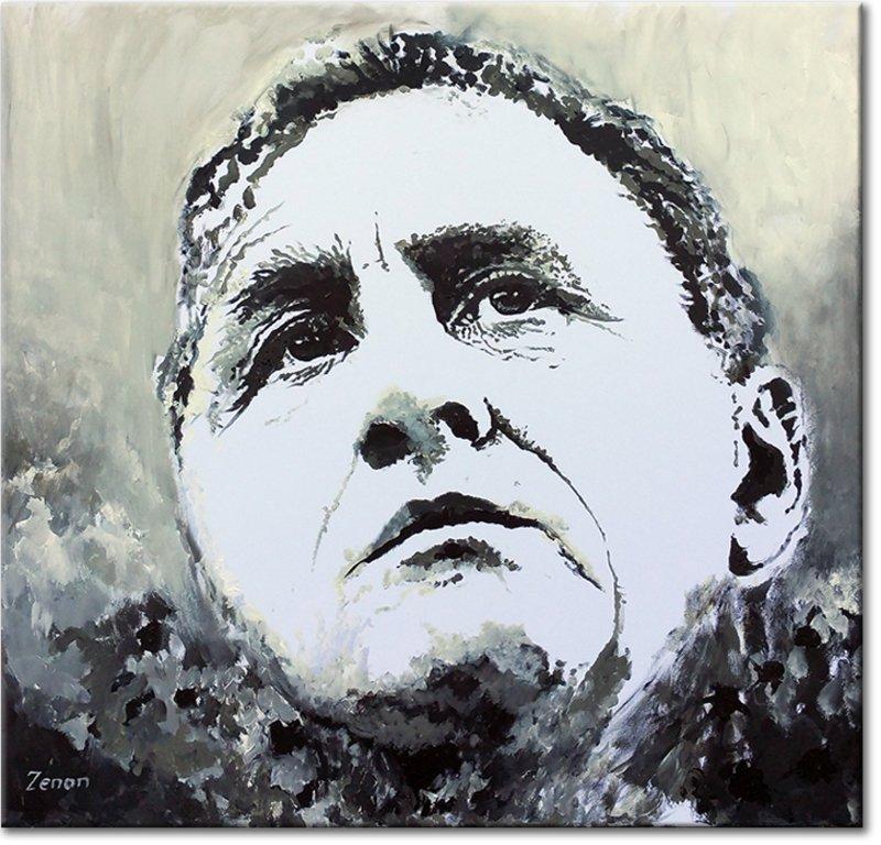Schilderij Johan Cruyff zwart-wit