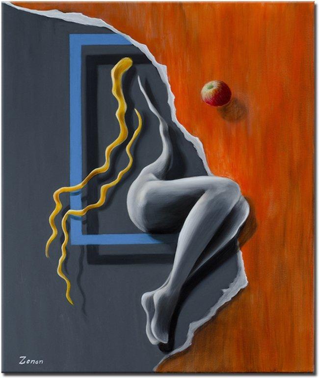 ... dit magisch realistisch schilderij in grijstinten en rood. opnieuw