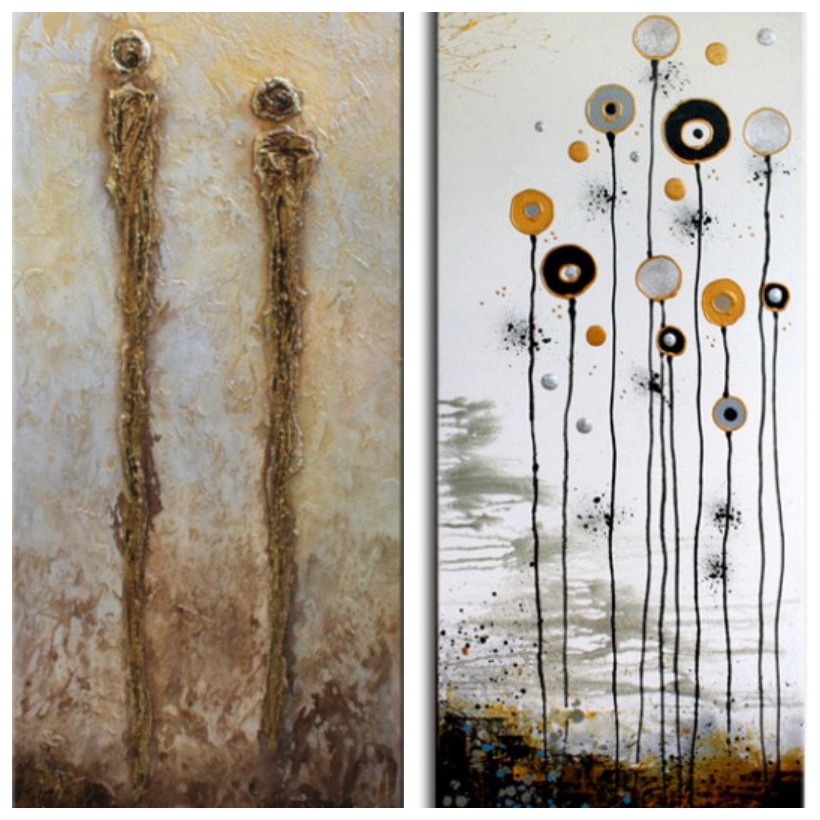 schilderijen Relationship en White Garden van Ines