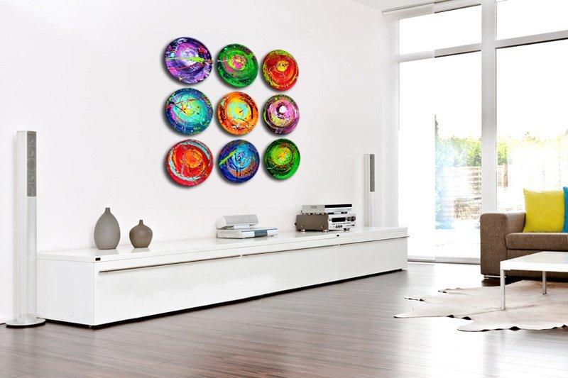 9-luik schilderij Happiness Circles van Ines