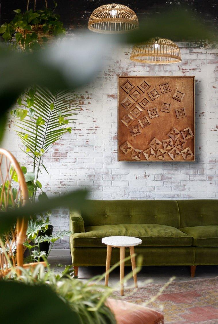 interieurfoto houtkunst wanddecoratie Aleksandra