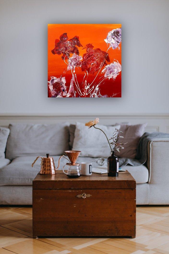Schilderij Some Happy Flowers van Sacha