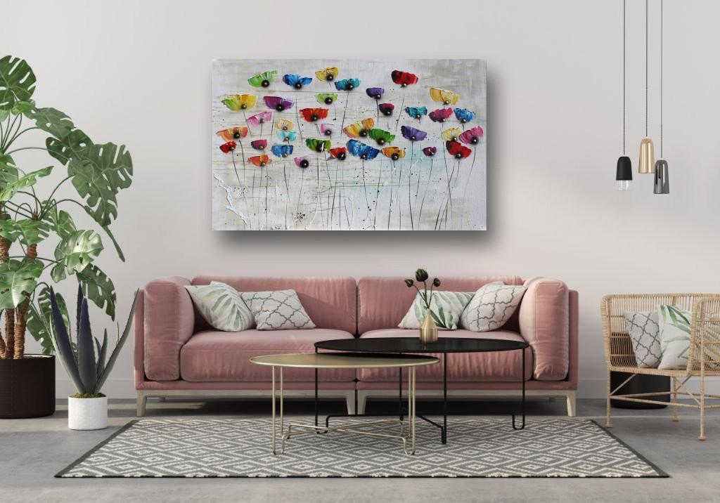 interieurfoto schilderij Summer Rain van Ines