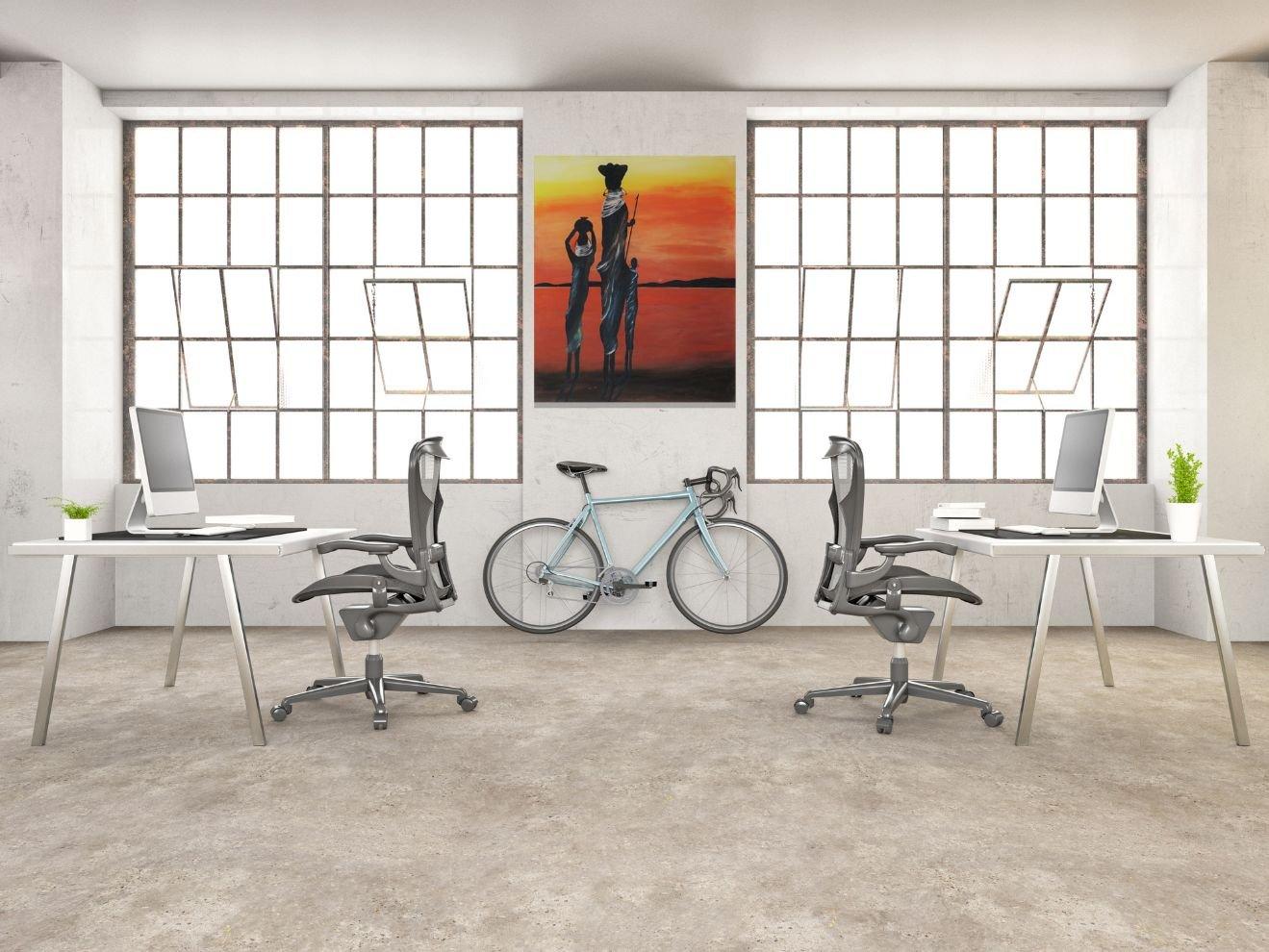 schilderij A Long Day van James op kantoor