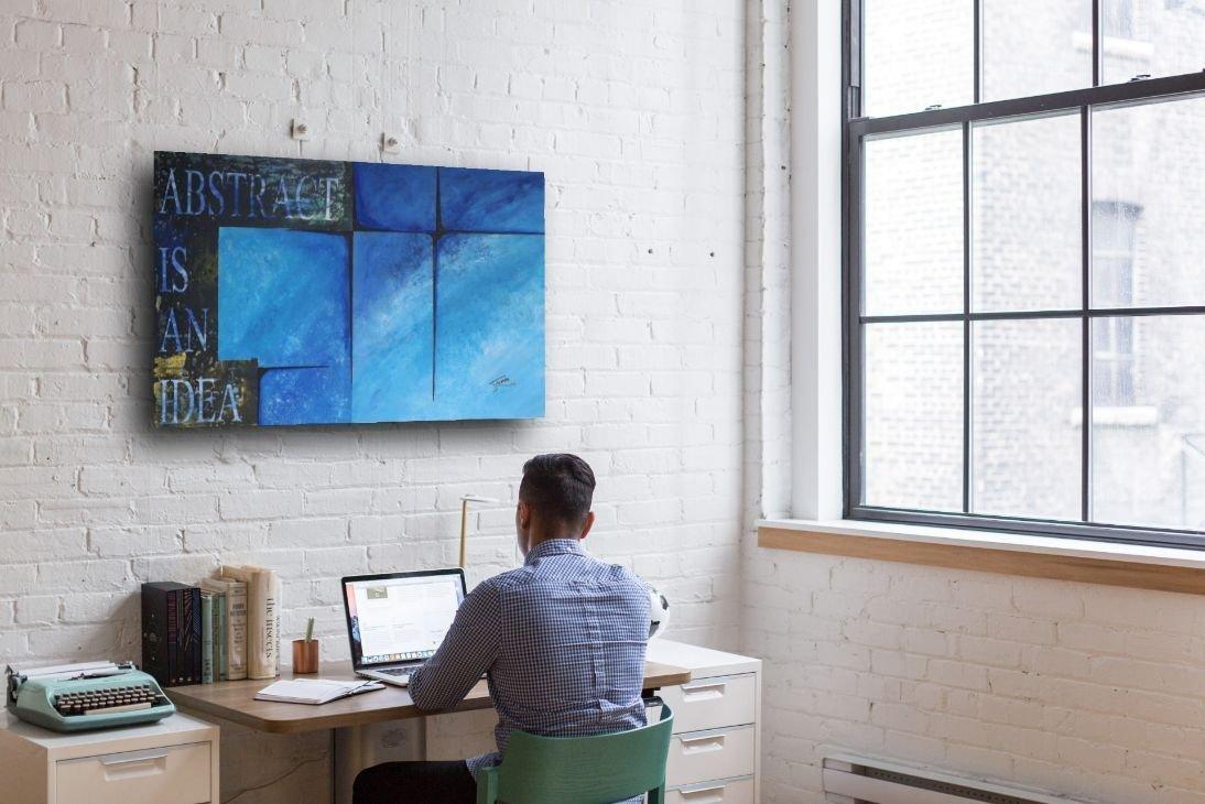 schilderij Abstract is an Idea van James boven thuiswerkplek
