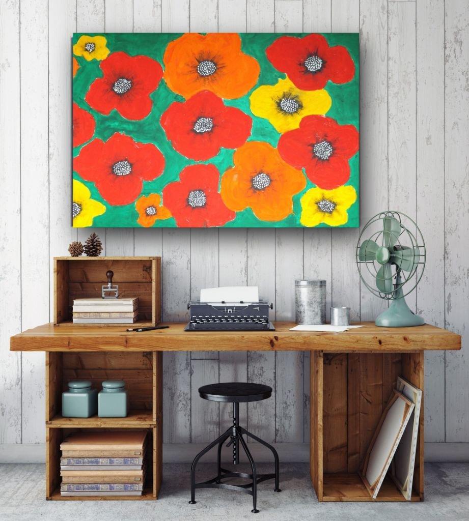 schilderij Big, Bold and Beautiful van James boven thuiswerkplek