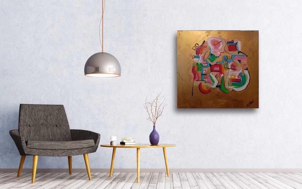 interieurfoto schilderij Little City van Sacha