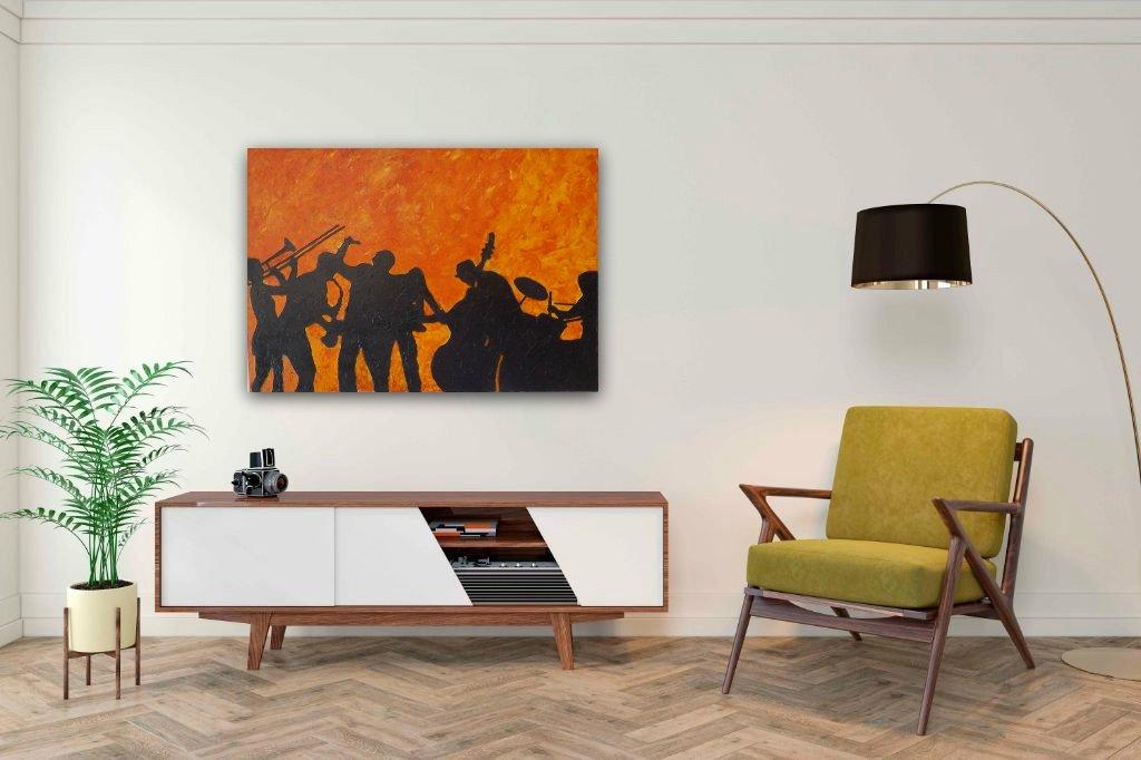 interieurfoto schilderij Making Jazz Alive van James