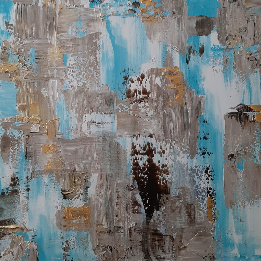 schilderij Golden Blues van Sacha