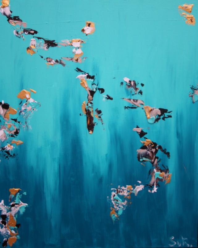 schilderij Turquoise Skies van Sacha