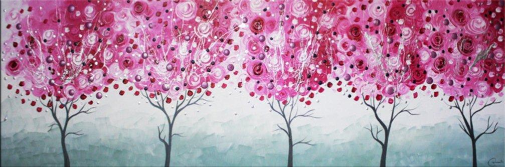 schilderij Cherry Trees van Ines
