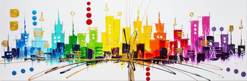 schilderij Colourful Skyline van Ines