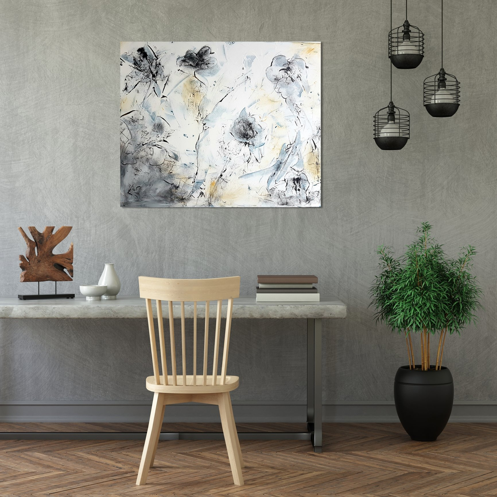 schilderij Delicate White van Sacha