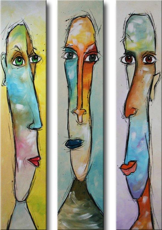 drieluik schilderij Funny Faces van Ines