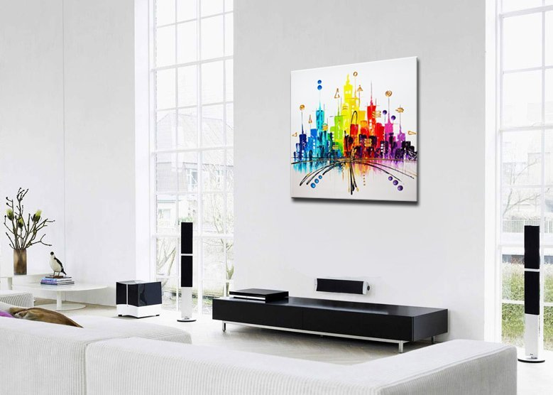 schilderij Rainbow City van Ines