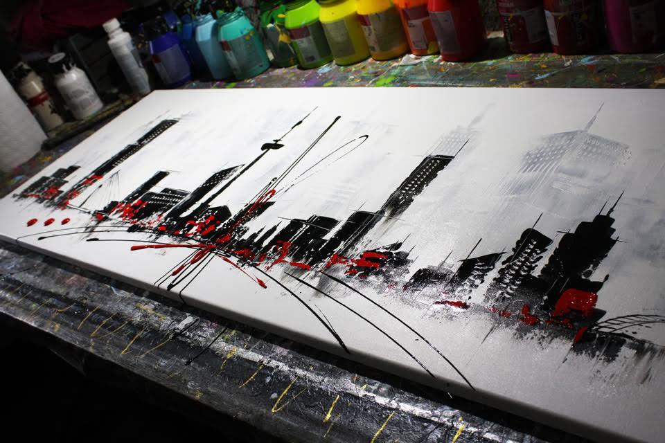 XXL maatwerk schilderij Rotterdam Skyline van Ines